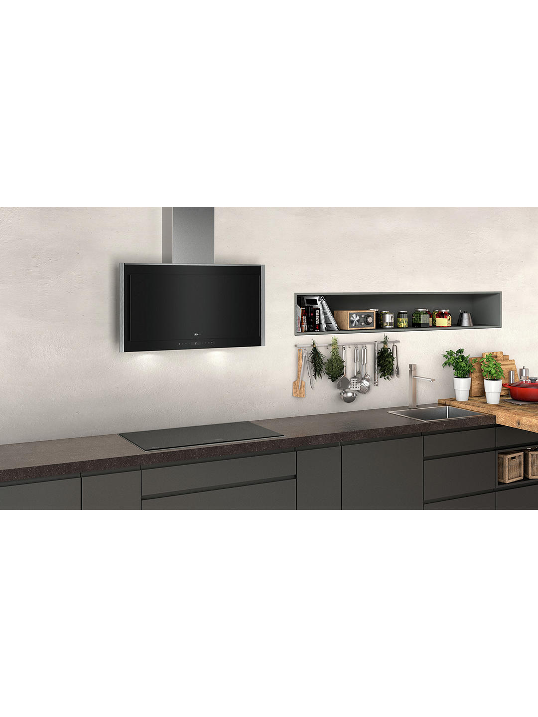 Buy Neff D95FMS1N0B 90cm Chimney Cooker Hood, A Energy Rating, Black Gloss Online at johnlewis.com