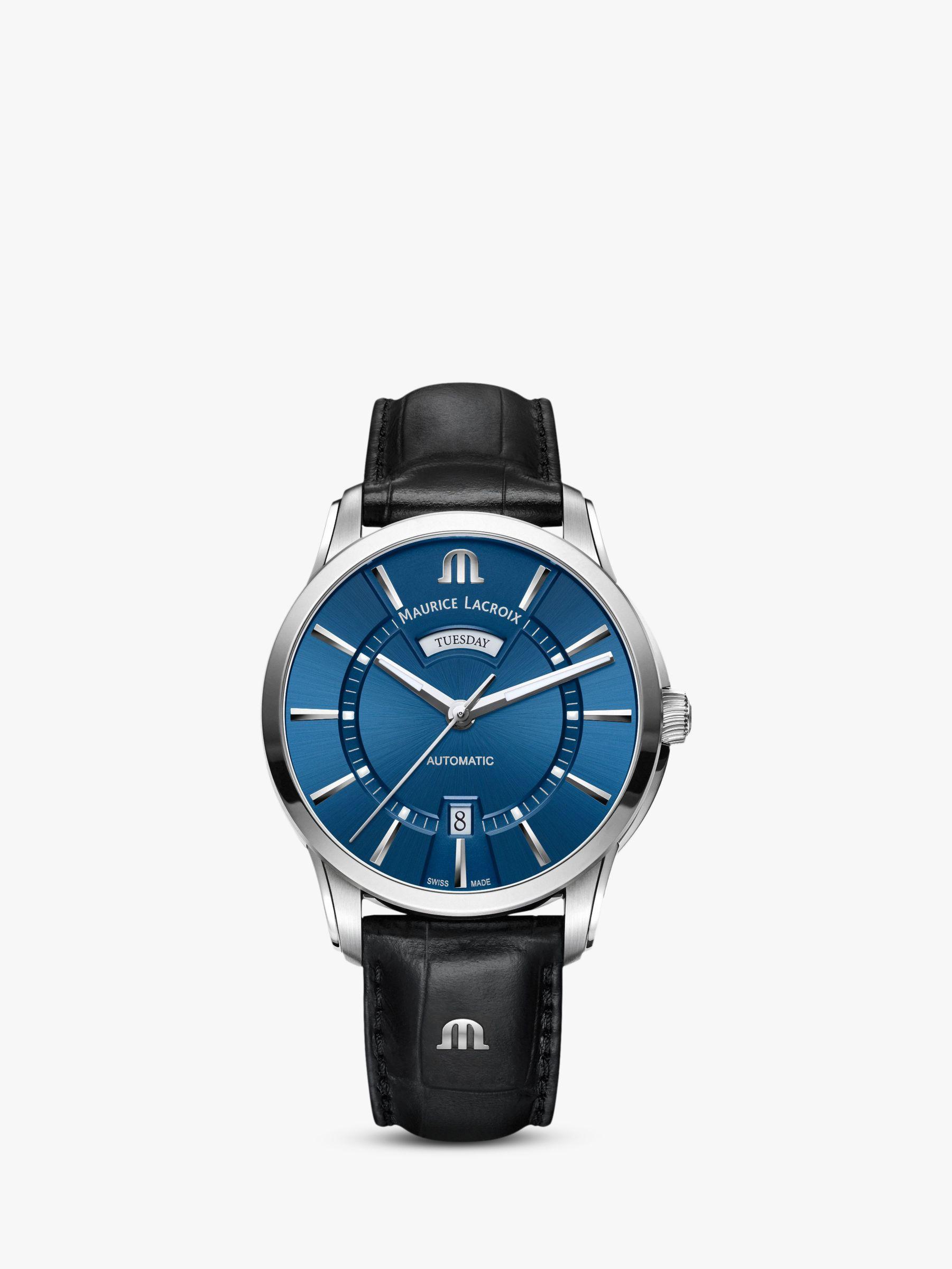 Maurice Lacroix Maurice Lacroix PT6358-SS001-430-1 Men's Pontos Automatic Day Date Leather Strap Watch, Black/Blue
