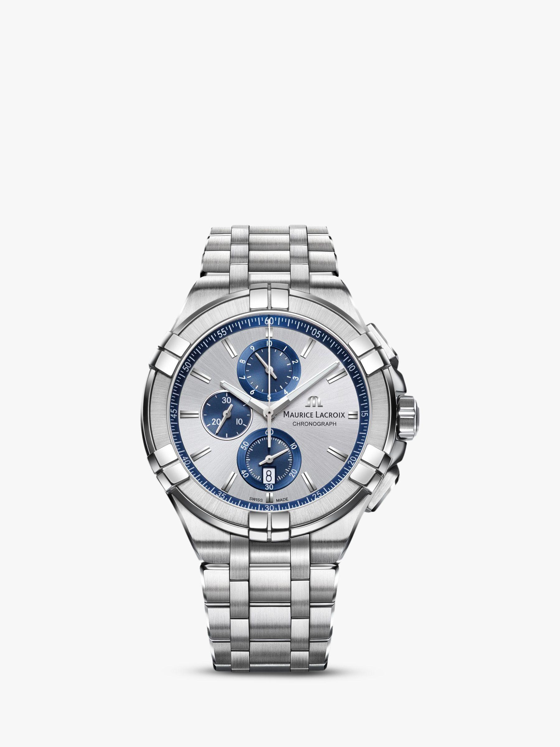Maurice Lacroix Maurice Lacroix AI1018-SS002-131-1 Men's Aikon Chronograph Date Bracelet Strap Watch, Silver