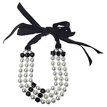 Buy Adele Marie Faux Pearl Velvet Ribbon Tie Necklace, White/Black Online at johnlewis.com