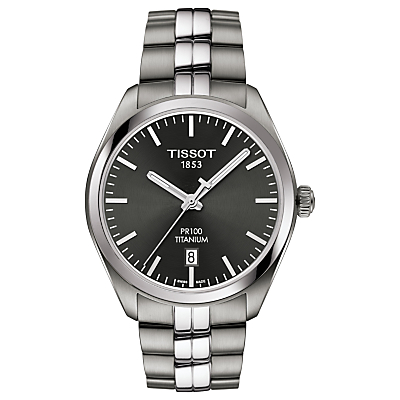 Tissot T1014104406100 Men's PR100 Date Bracelet Strap Watch, Silver/Black