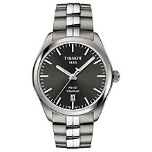 Buy Tissot T1014104406100 Men's PR100 Date Bracelet Strap Watch, Silver/Black Online at johnlewis.com