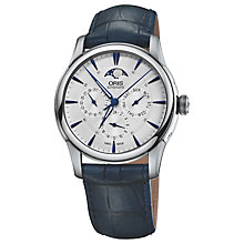 Buy Oris 0178177034031-0752175F Men's Artelier Automatic Moon Phase Leather Strap Watch, Navy/Silver Online at johnlewis.com