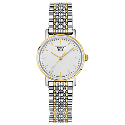 Tissot T1092102203100 Women's Everytime Bracelet Strap Watch, Silver/Gold