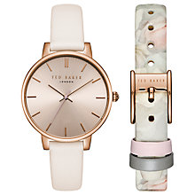 Buy Ted Baker Women's Kate Leather Strap Watch, Baby Pink/Rose Gold Online at johnlewis.com