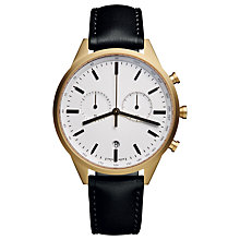 Buy Uniform Watches C41_SGO_01_NAP_BLK_1816R_01 Chronograph Stainless Steel Sapphire Crystal Leather Strap Watch, Black/Gold Online at johnlewis.com