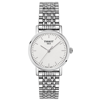 Tissot T1092101103100 Women's Everytime Bracelet Strap Watch, Silver/White