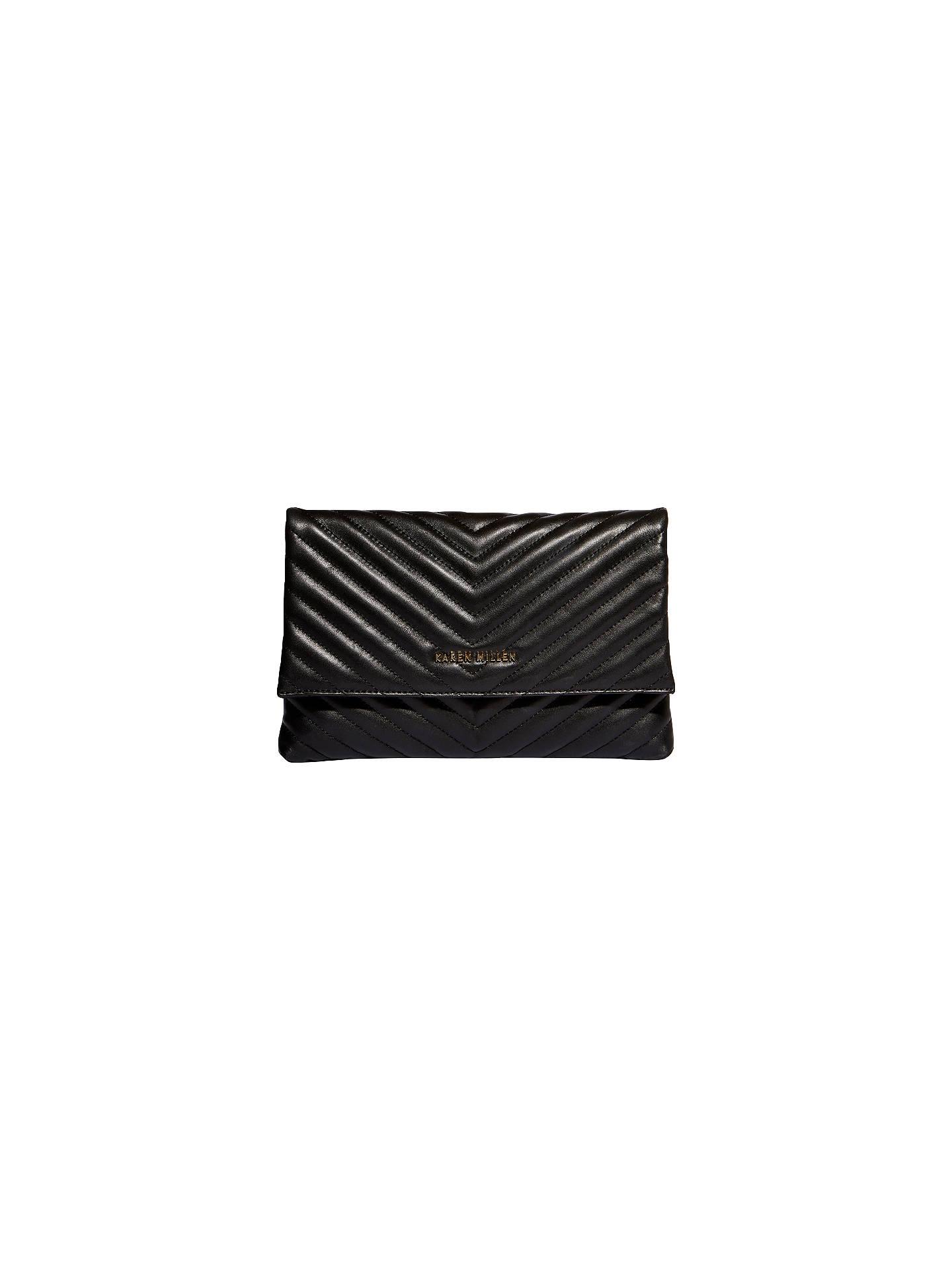 183d9033a09 Buy Karen Millen Leather Quilted Brompton Bag, Black Online at  johnlewis.com ...
