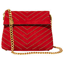 Buy Karen Millen Leather Stud Mini Regent Shoulder Bag, Red Online at johnlewis.com