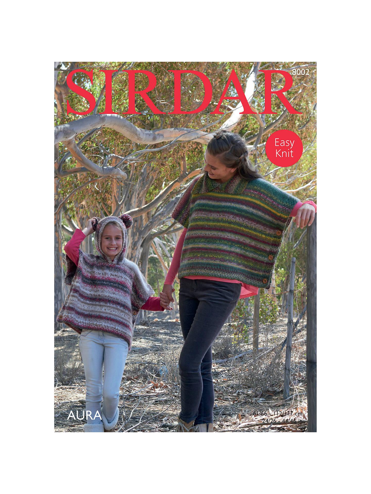 Sirdar Aura Chunky Ponchos Knitting Pattern, 8002