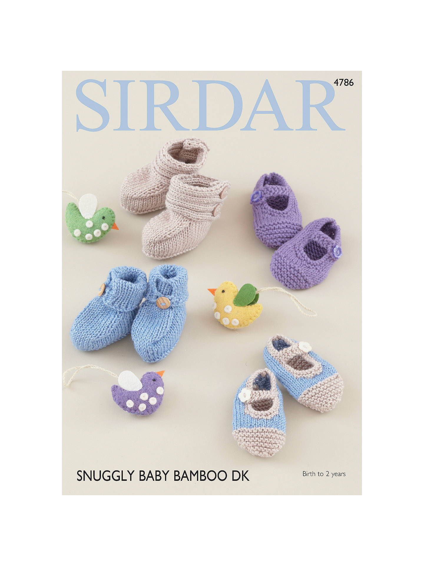 880ea98ff Sirdar Snuggly Baby Bamboo DK Shoes and Booties Pattern 4786 at John ...