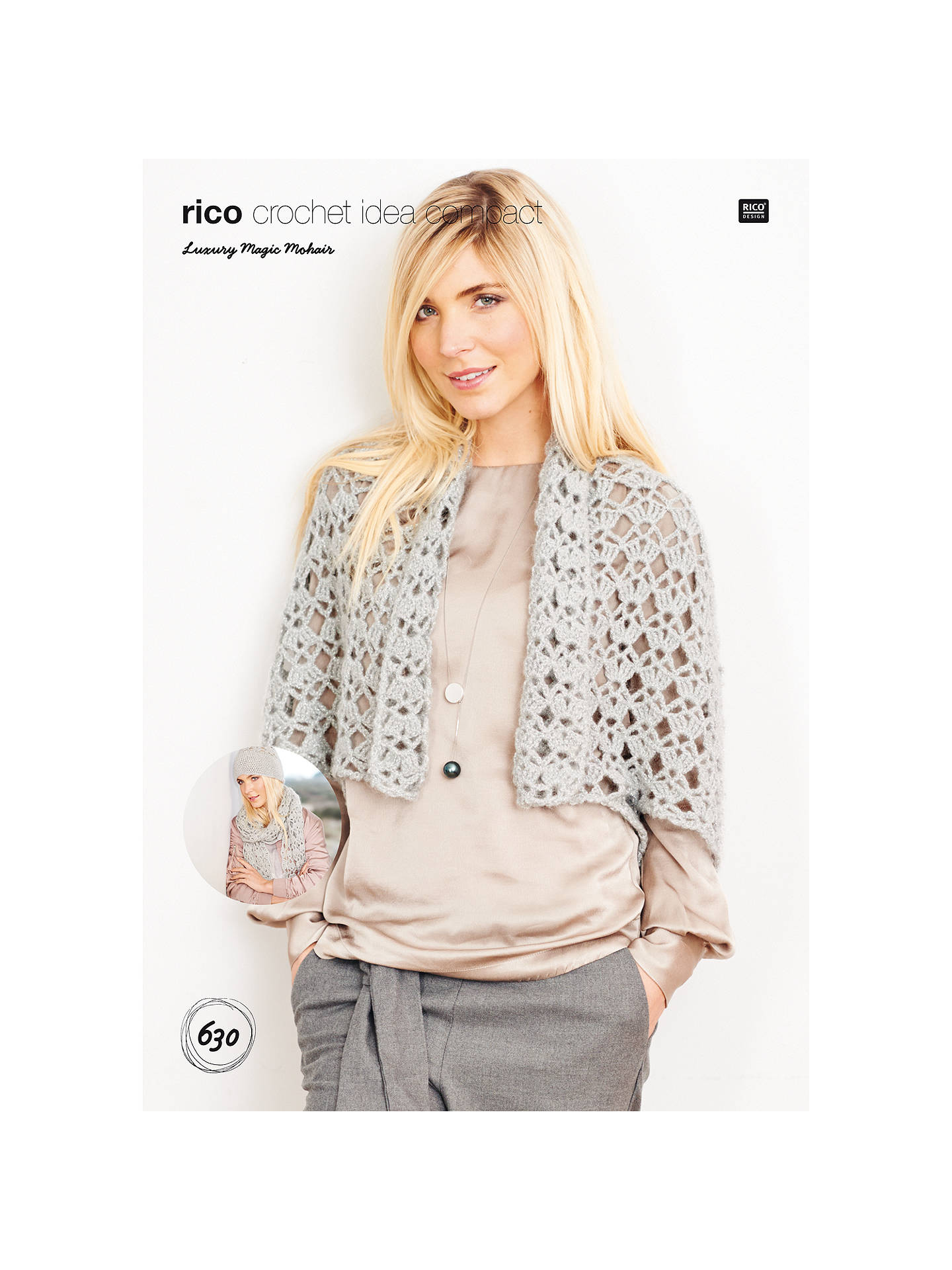 Rico Design Magic Mohair Cardigan Hat And Scarf Crochet Pattern