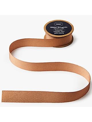John Lewis & Partners Glitter Grosgrain Ribbon, 5m, Rose Gold