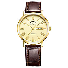 Buy Rotary GS90156/09 Men's Les Originales Windsor Day Date Leather Strap Watch, Brown/Gold Online at johnlewis.com