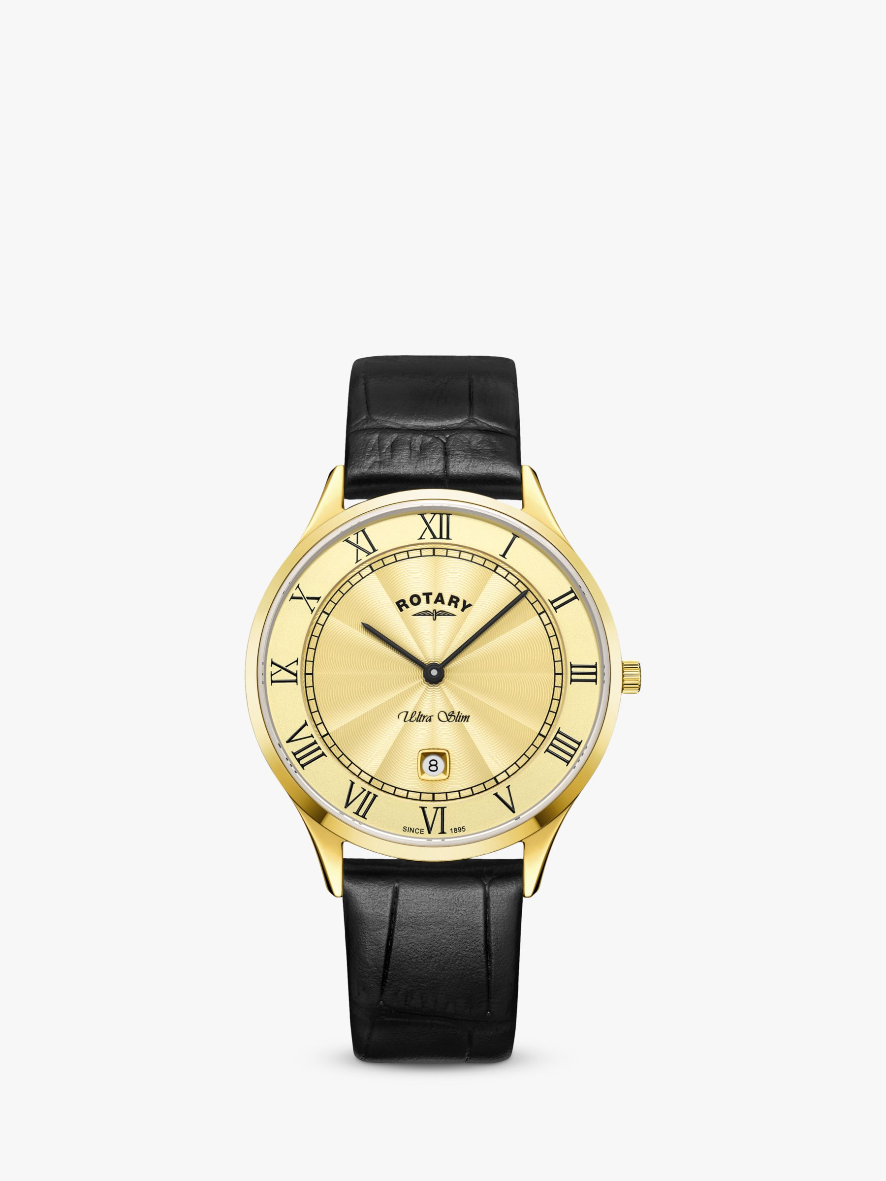Rotary Rotary GS08303/03 Men's Ultra Slim Date Leather Strap Watch, Black/Gold