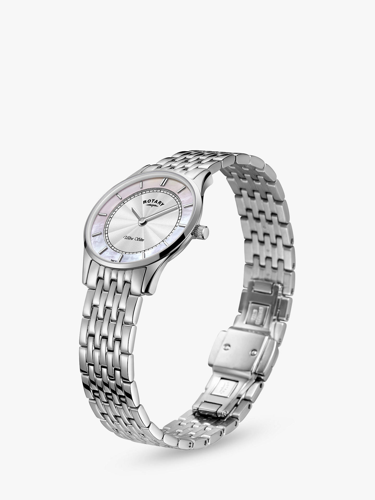 BuyRotary LB08300/07 Women's Ultra Slim Bracelet Strap Watch, Silver/Multi Online at johnlewis.com