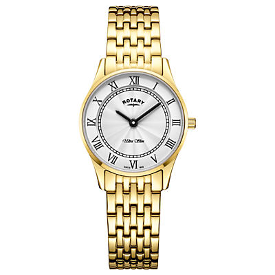 Rotary LB08303/01 Women's Ultra Slim Bracelet Strap Watch, Gold/White
