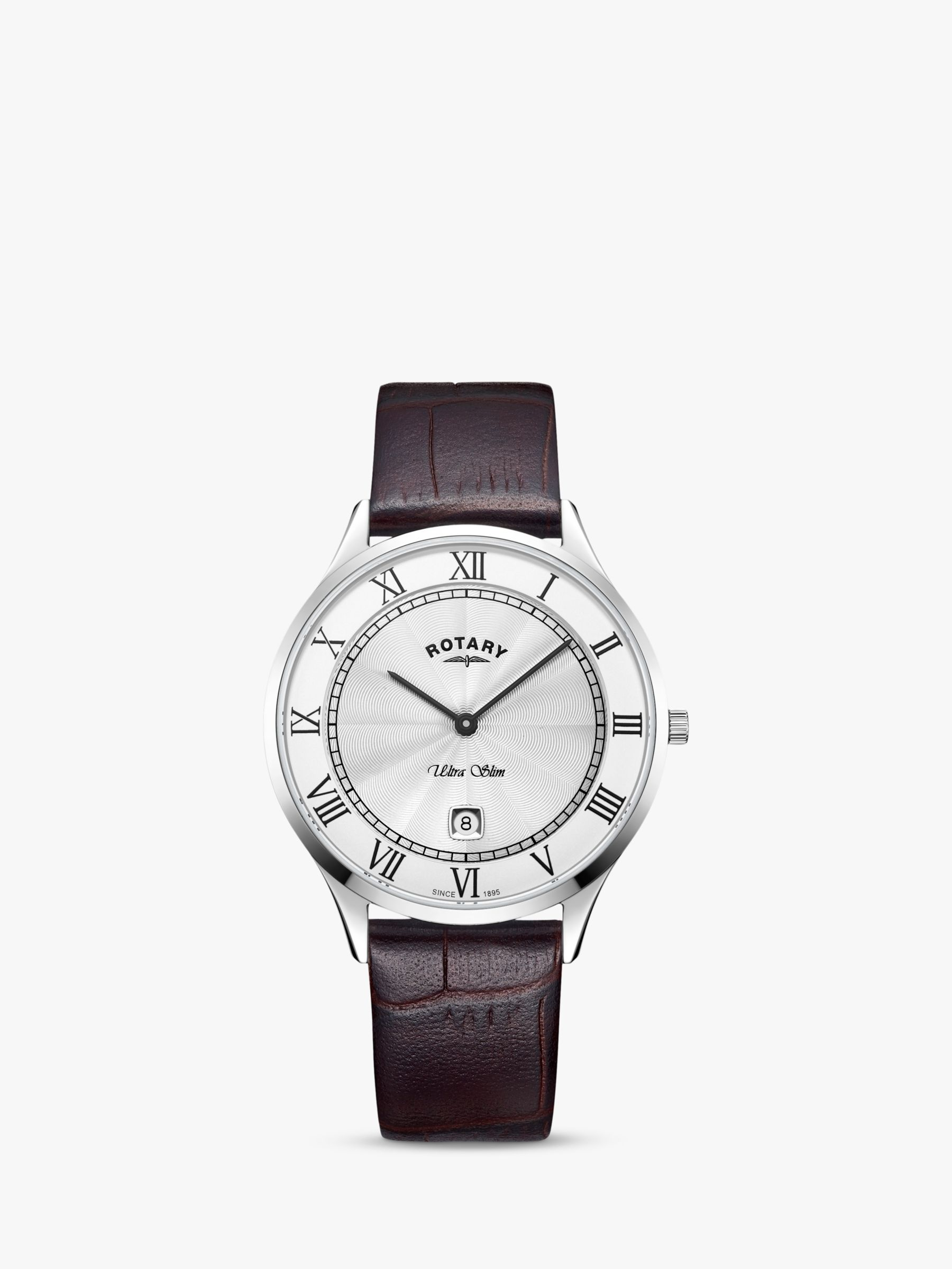 Rotary Rotary Men's Ultra Slim Date Leather Strap Watch