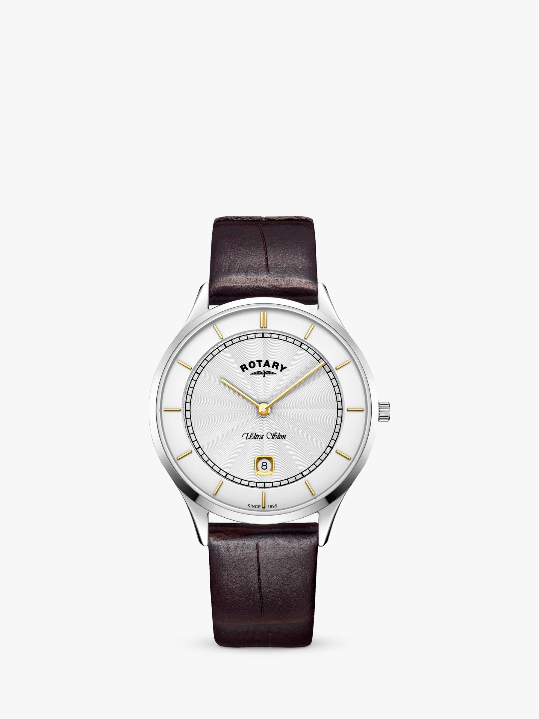Rotary Rotary GS08300/02 Men's Ultra Slim Date Leather Strap Watch, Brown/White