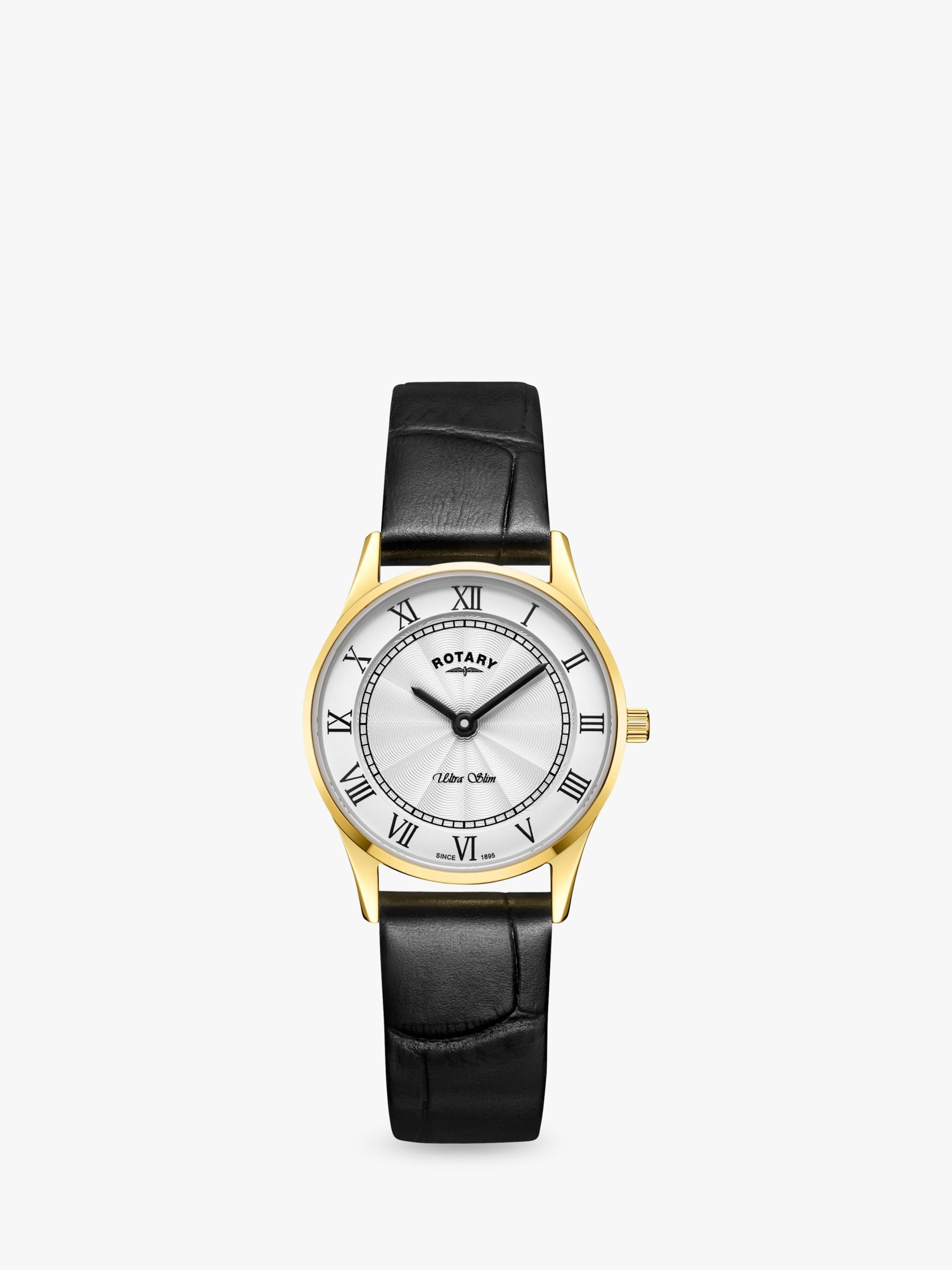 Rotary Rotary LS08303/01 Women's Ultra Slim Leather Strap Watch, Black/Silver White