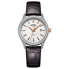 Buy Rotary Women's Oxford Date Leather Strap Watch Online at johnlewis.com