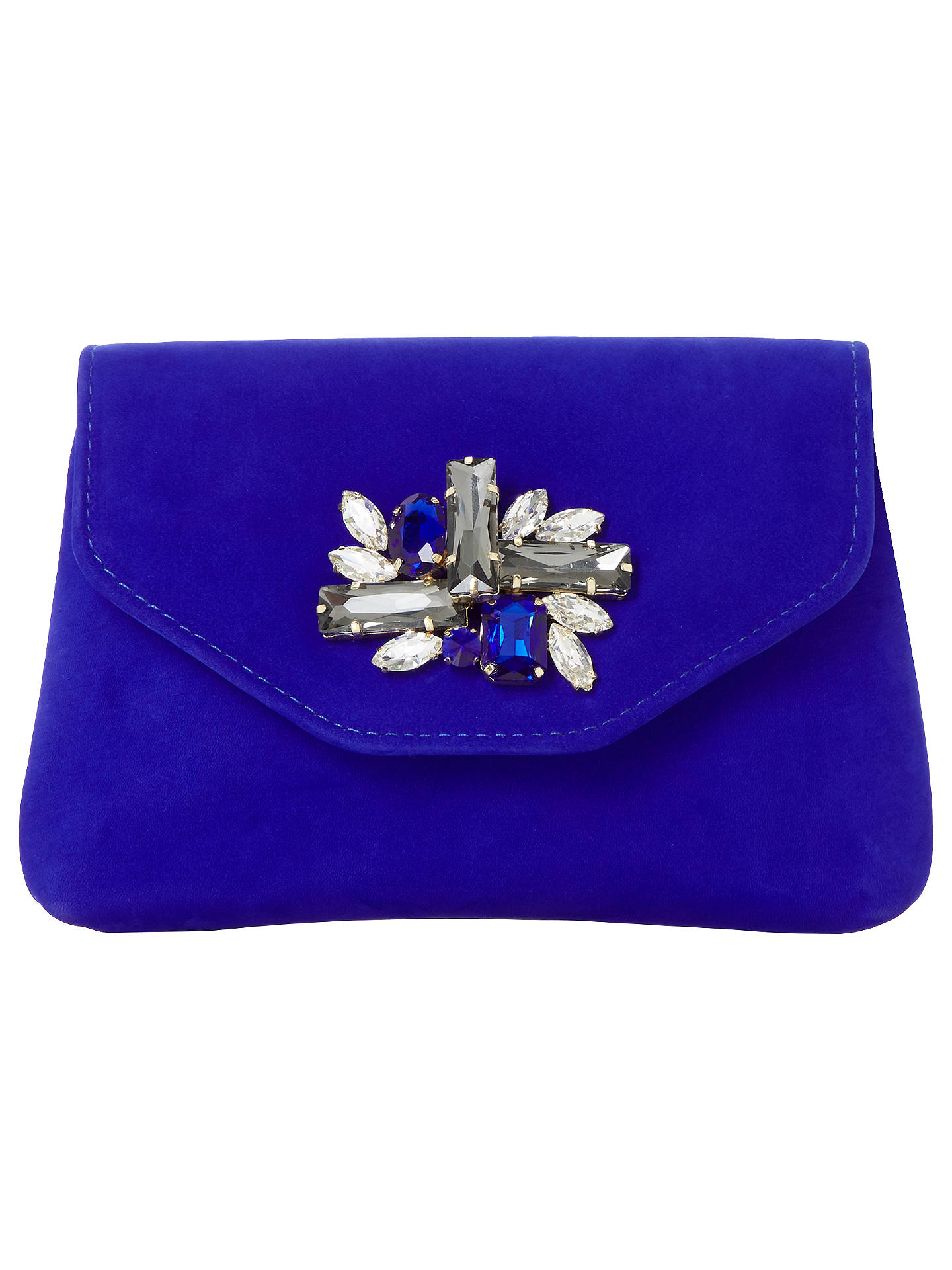 Dune Bandie Jewelled Clutch Bag, Blue