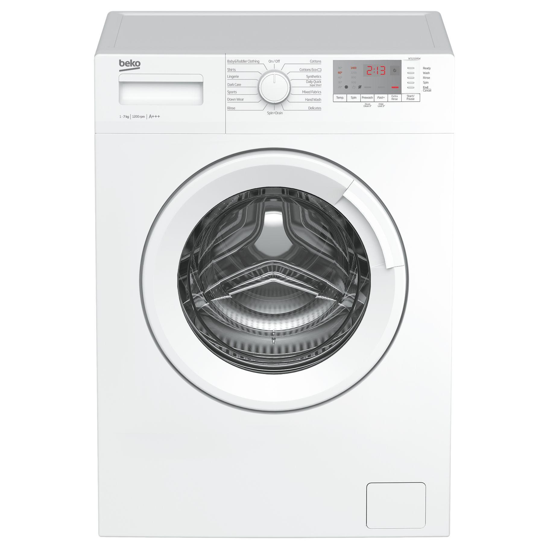 Beko Beko WTG721M1W Freestanding Washing Machine, 7kg Load, A+++ Energy Rating, 1200rpm Spin, White