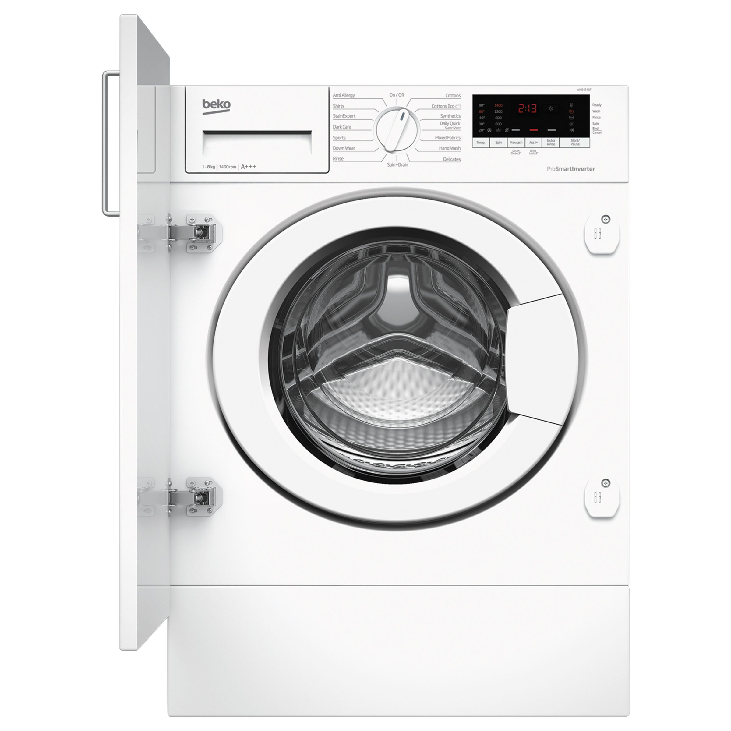 Beko Beko WIY84540F Integrated Washing Machine, 8kg Load, A+++ Energy Rating, 1400rpm Spin, White