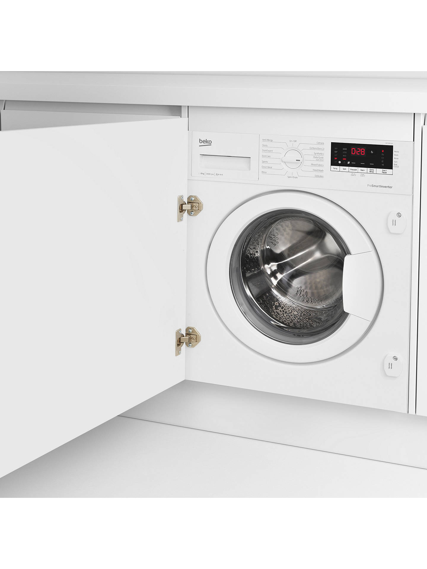 BuyBeko WIY84540F Integrated Washing Machine, 8kg Load, A+++ Energy Rating, 1400rpm Spin, White Online at johnlewis.com