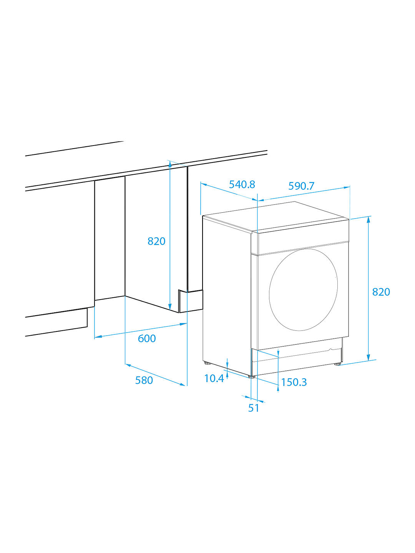Beko WIY84540F Integrated Washing Machine, 8kg Load, A