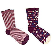 Buy Fat Face Heart Ankle Socks, Pack of 2, Multi Online at johnlewis.com