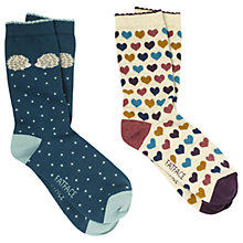 Buy Fat Face Cotton Hedgehog Heart Ankle Socks, Pack of 2, Multi Online at johnlewis.com