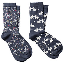Buy Fat Face Cotton Floral Bunny Ankle Socks, Pack of 2, Multi Online at johnlewis.com