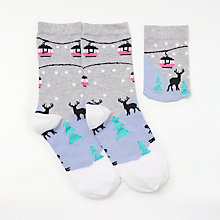 Buy John Lewis Cable Cars Socks with a String Bag, Grey/Multi Online at johnlewis.com