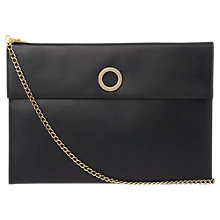 Buy Whistles Willow Rivington Leather Chain Clutch Bag, Black Online at johnlewis.com