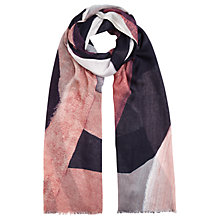 Buy Jigsaw Oversize Typo Print Scarf, Dusky Pink Online at johnlewis.com