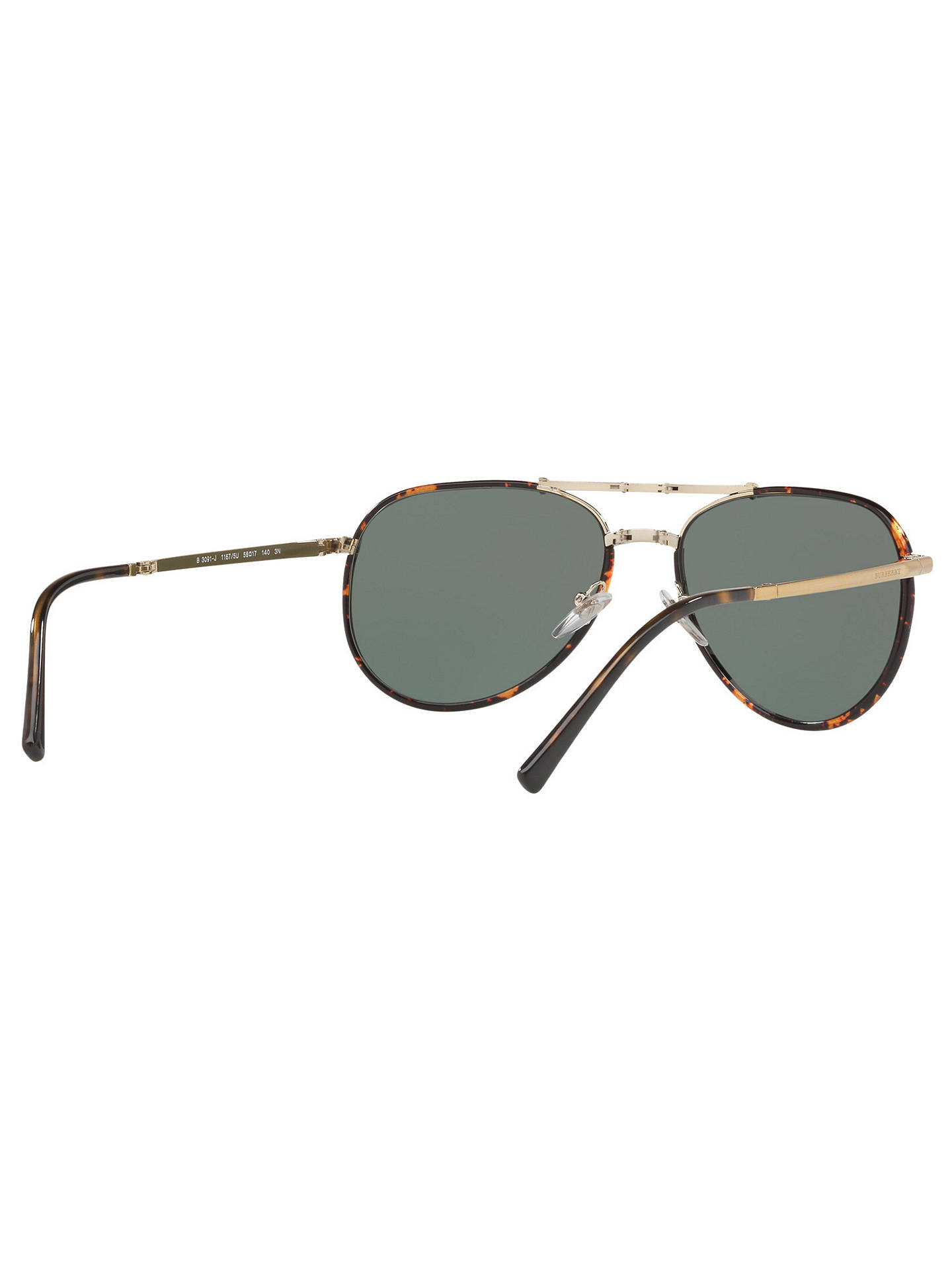 BuyBurberry BE3091J Aviator Sunglasses, Tortoise/Black Online at johnlewis.com