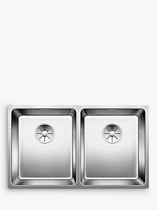 Blanco Andano 340/340-U 2 Bowl Undermounted Kitchen Sink, Stainless Steel