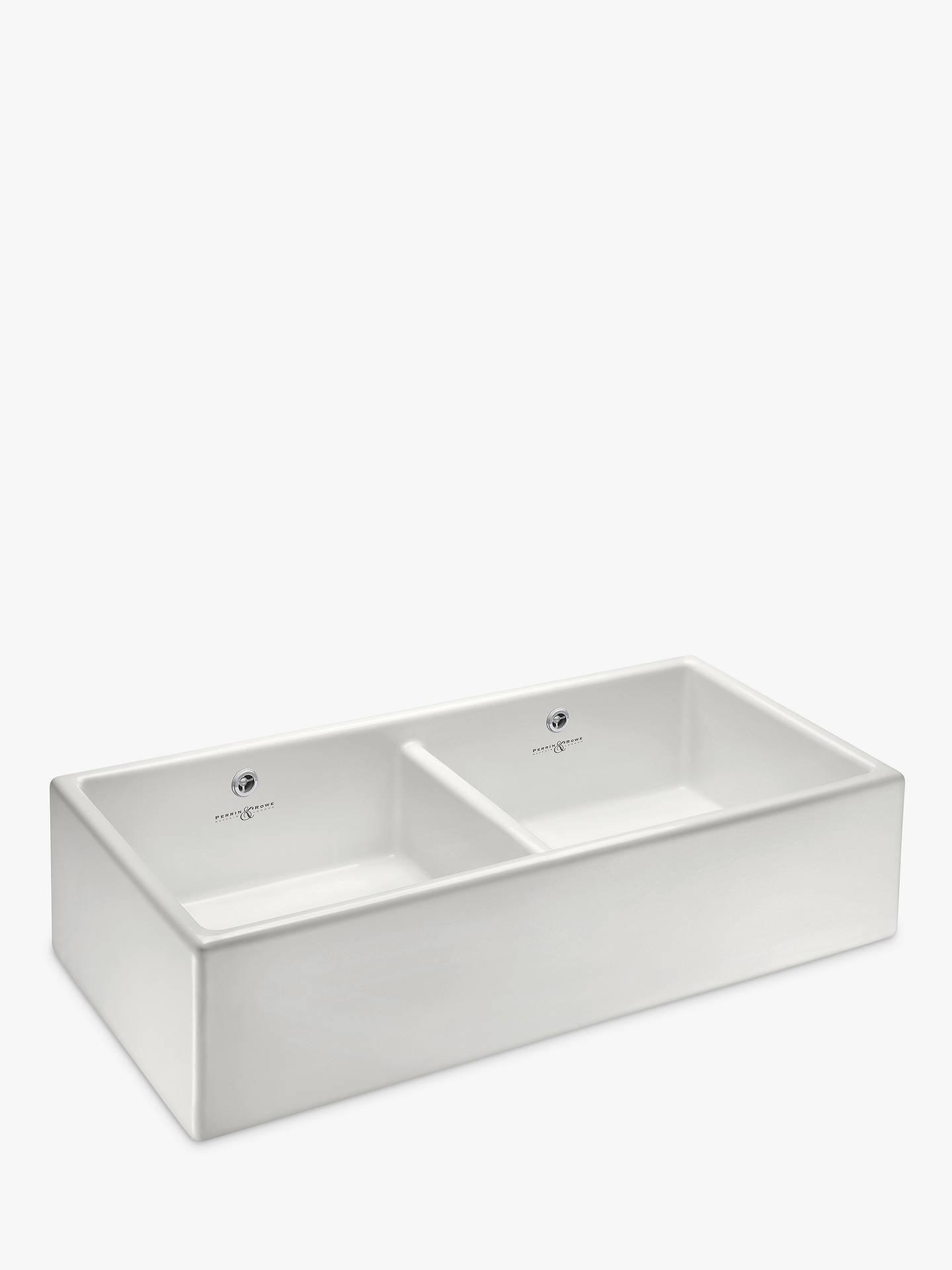 Perrin Rowe Shaker 1000 2 Bowl Farmhouse Ceramic Kitchen Sink White