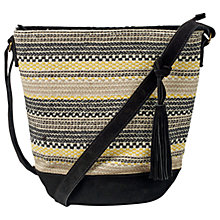 Buy Fat Face Broken Stripe Woven Across Body Bag, Black Online at johnlewis.com