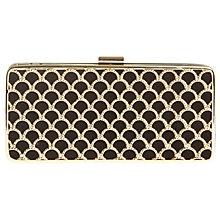 Buy Phase Eight Katy Scallop Box Clutch Bag, Black/Gold Online at johnlewis.com