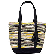 Buy Fat Face Broken Stripe Woven Shopper Bag, Black Online at johnlewis.com