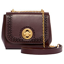 Buy Karen Millen Antique Leather Cross Body Bag, Aubergine Online at johnlewis.com