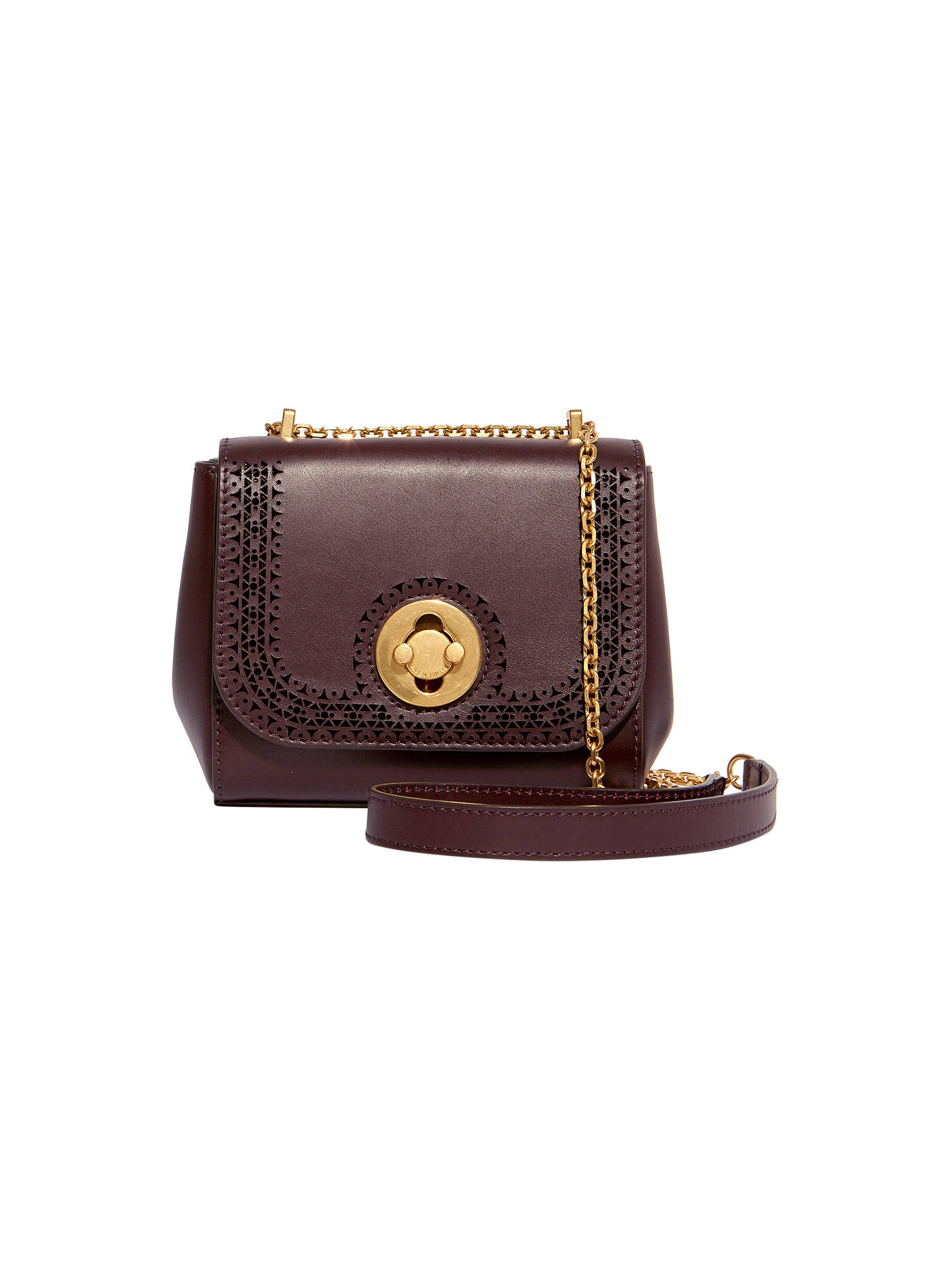 Karen Millen Antique Leather Cross Body Bag Aubergine Online At Johnlewis