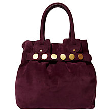 Buy Karen Millen Suede Studded Slouch Bag, Aubergine Online at johnlewis.com