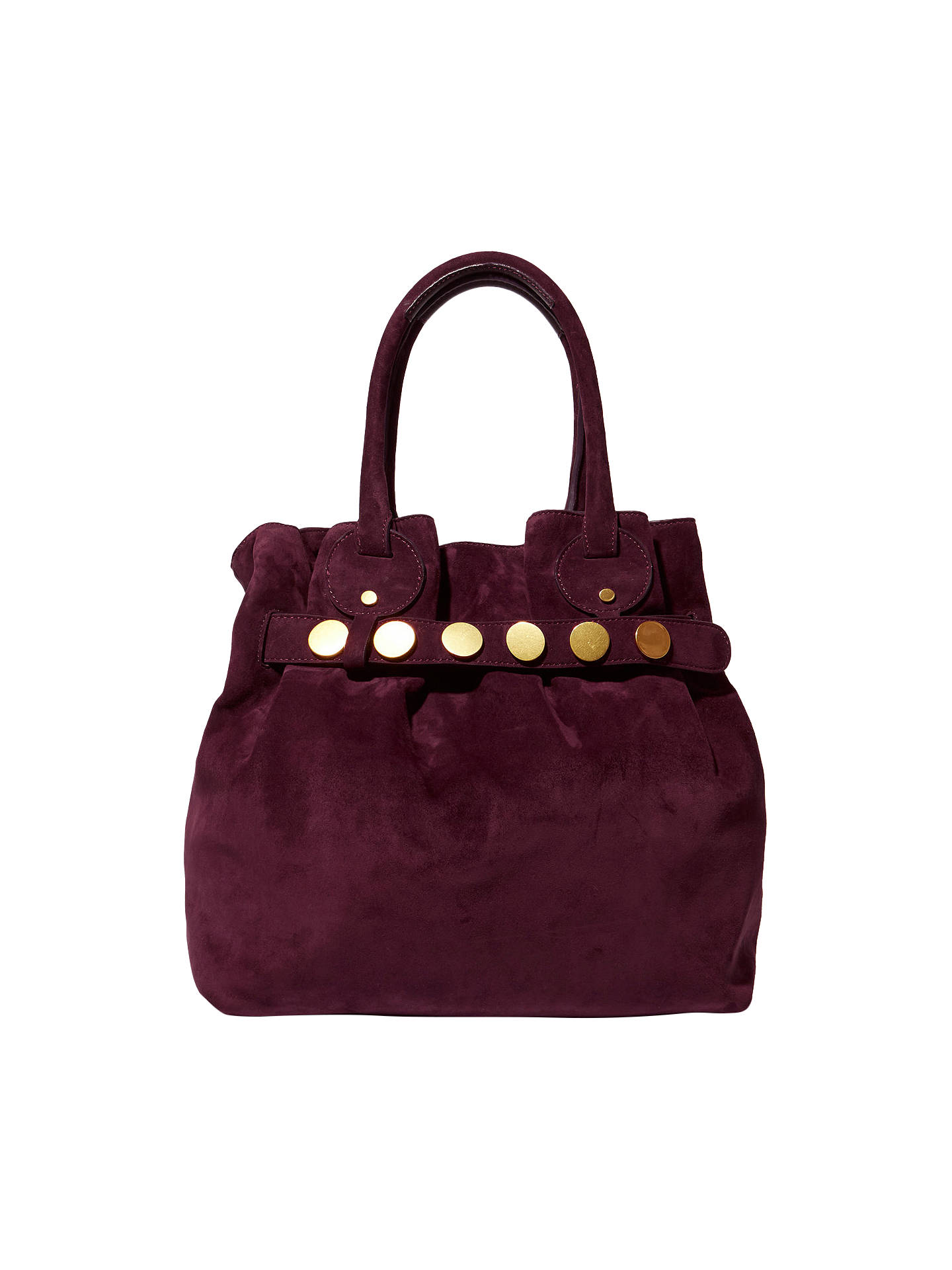 Karen Millen Suede Studded Slouch Bag Aubergine Online At Johnlewis