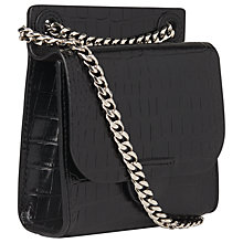 Buy Whistles Connie Croc Effect Mini Leather Cross Body Bag, Black Online at johnlewis.com