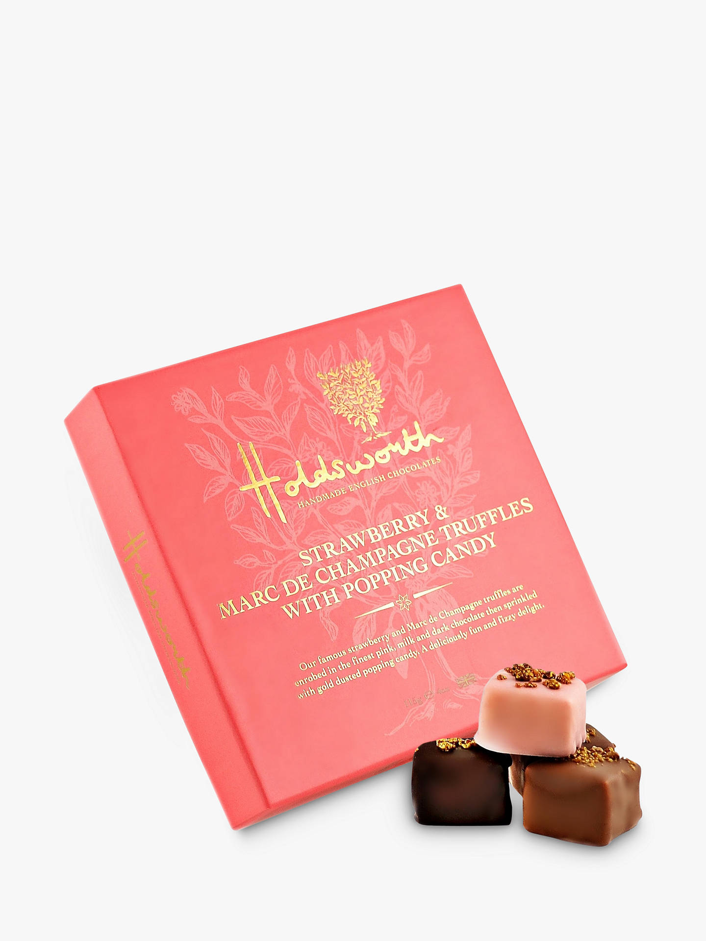 BuyHoldsworth Marc de Champagne and Strawberry Truffles with Popping Candy, 115g Online at johnlewis.com