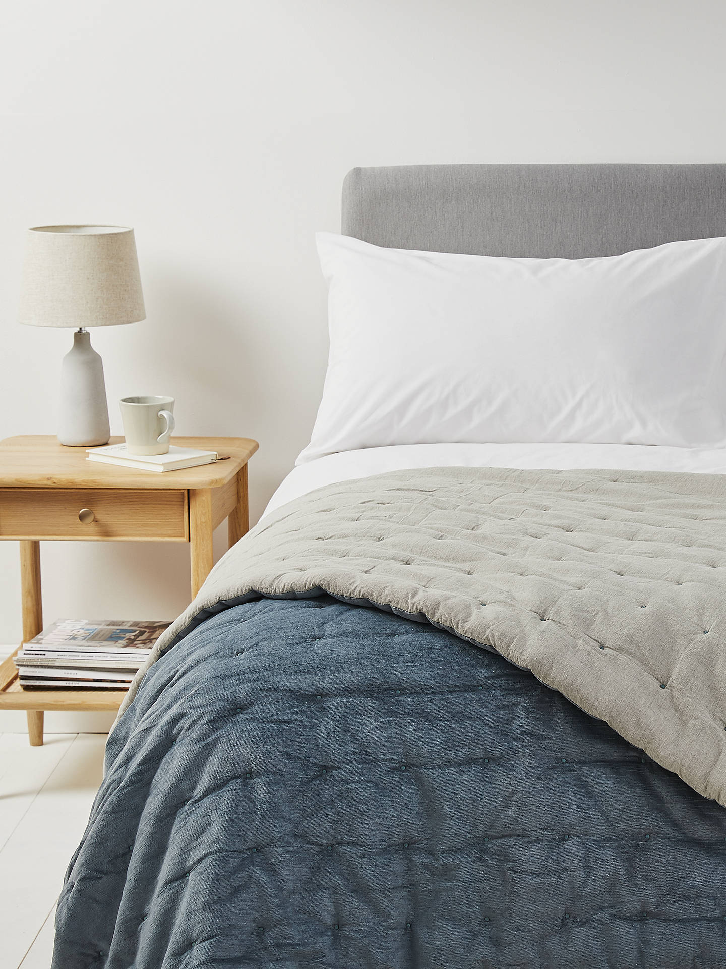 BuyCroft Collection Velvet Quilted Bedspread, Slate Online at johnlewis.com