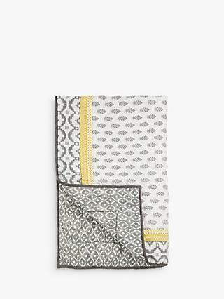John Lewis & Partners Fusion Orchha Quilted Bedspread, Saffron / Grey